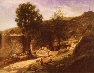 Charles-Francois Daubigny - Entree De Village (Entering the Village)