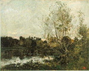 Charles-Francois Daubigny - A Lake in the Woods at Dusk, c.1865