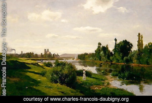 The River Seine at Mantes, c.1856