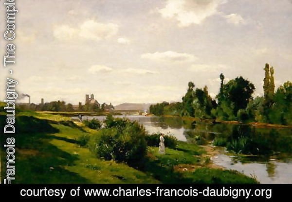 Charles-Francois Daubigny - The River Seine at Mantes, c.1856