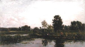 Charles-Francois Daubigny - A Bend in the River Oise, 1872