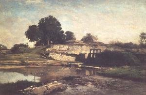 Charles-Francois Daubigny - The Lock at Optevoz, 1859