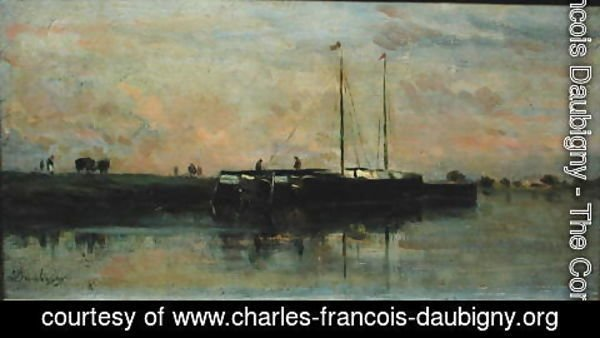 Charles-Francois Daubigny - Barges at Bezons