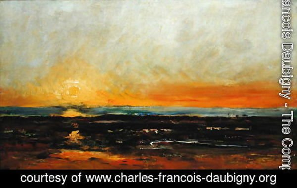Charles-Francois Daubigny - Sunset on the Sea Coast