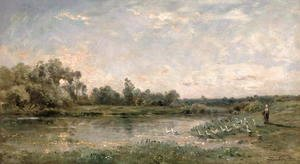 Charles-Francois Daubigny - Along the River, 1874