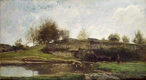 Charles-Francois Daubigny - The Lock at Optevoz, 1855