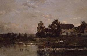 Charles-Francois Daubigny - The Banks of the Seine at Portejoie, 1871