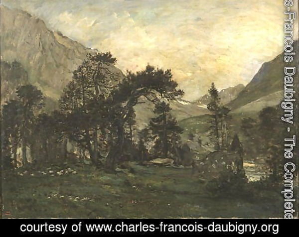 Charles-Francois Daubigny - The Mahoura at Cauterets