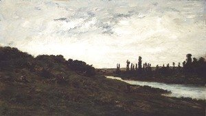 Charles-Francois Daubigny - Herdsmen and Cattle in a wooded river landscape