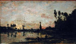 Charles-Francois Daubigny - Sunset on the Oise, 1865