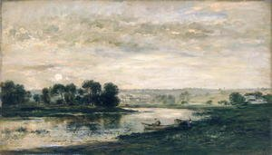 Charles-Francois Daubigny - Evening on the Oise, 1872