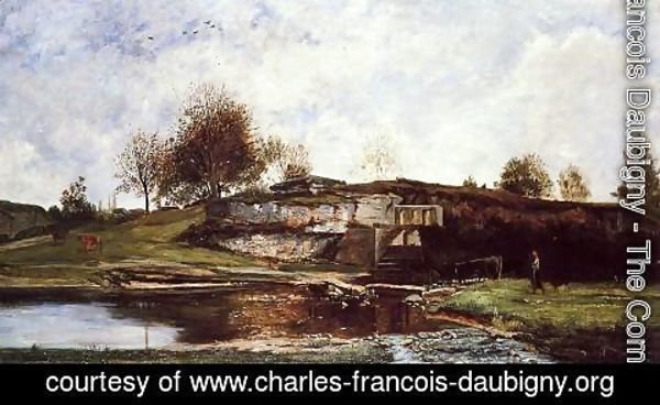 Charles-Francois Daubigny - Sluice in the Optevoz Valley
