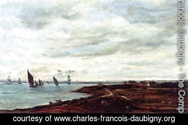 Charles-Francois Daubigny - The Banks of the Thames at Eames