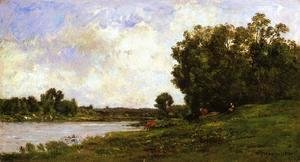 Charles-Francois Daubigny - Cattle on the Bank of the River