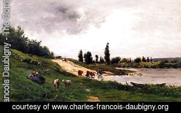 Charles-Francois Daubigny - Washerwomen on the Riverbank