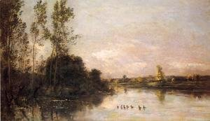Charles-Francois Daubigny - Ducklings in a River Landscape