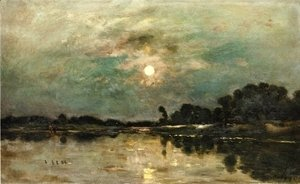 Charles-Francois Daubigny - Riverbank in Moonlight