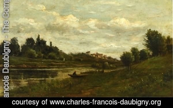 Charles-Francois Daubigny - Fisherman on the Banks of the River