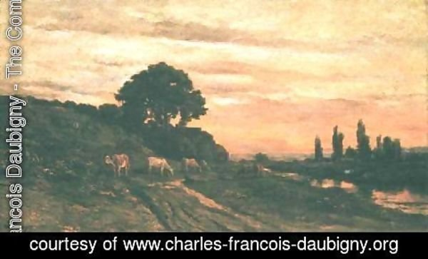 Charles-Francois Daubigny - Landscape with Cattle