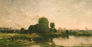 Charles-Francois Daubigny - Riverbank with Fowl