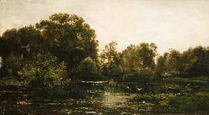 A River Landscape with Storks 1864