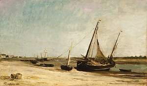 Charles-Francois Daubigny - Boats on the Seacoast at aples 1871