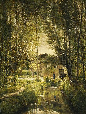 Charles-Francois Daubigny - Landscape with a Sunlit Stream, ca 1877