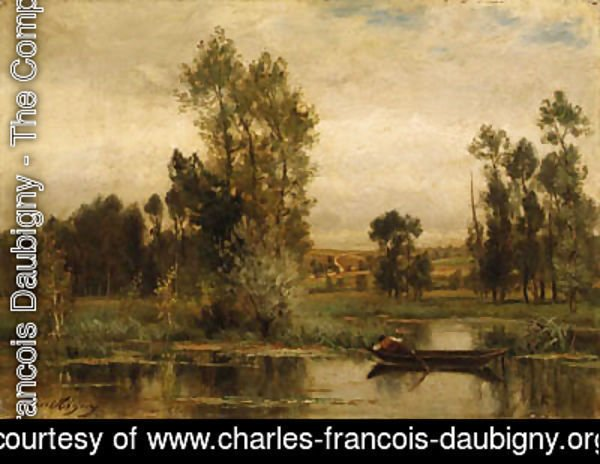 Charles-Francois Daubigny - Barque sur l'tang (Boat on the Pond)