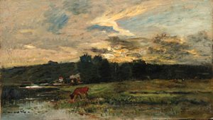 Charles-Francois Daubigny - Landscape with Cow watering at a quiet Pool