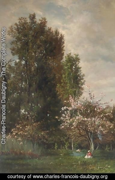 Charles-Francois Daubigny - A Figure seated beneath a Cherry Tree