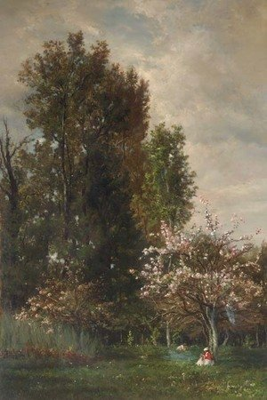 A Figure seated beneath a Cherry Tree
