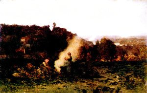 Charles-Francois Daubigny - Wood fire in the country