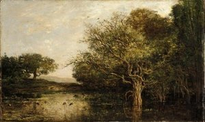 Charles-Francois Daubigny - The pond with a herons