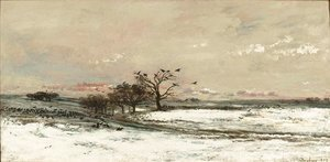 Charles-Francois Daubigny - Snowy Landscape at Sunset