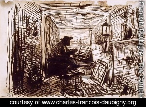 Charles-Francois Daubigny - The Studio on the Boat
