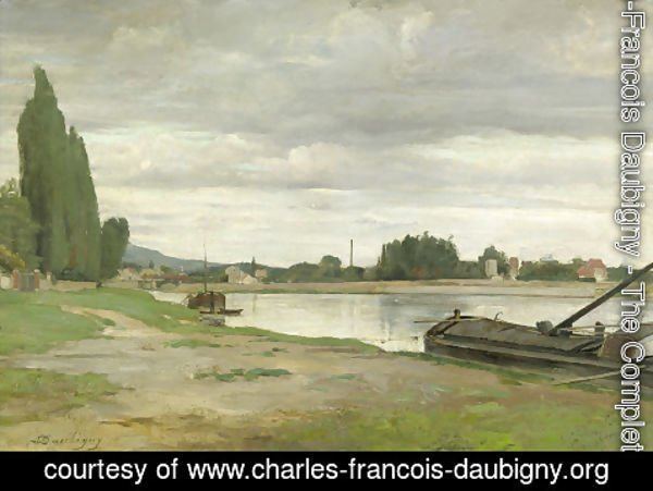 Charles-Francois Daubigny - River landscape with barge moored