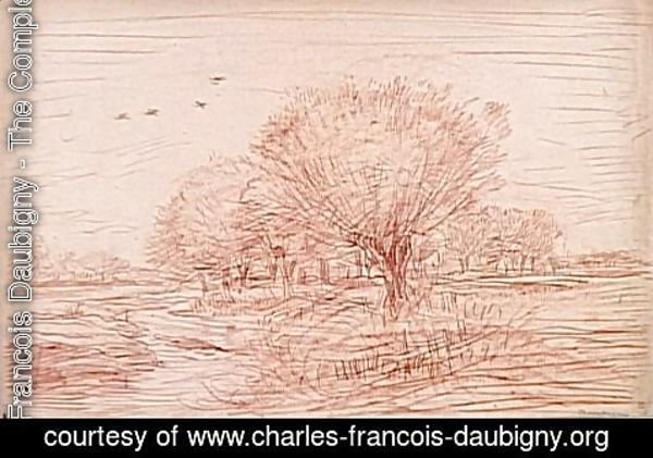 Charles-Francois Daubigny - River Landscape Creek crossing a wooded meadow