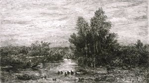Charles-Francois Daubigny - Fisherman on River with Ducks
