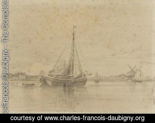 Charles-Francois Daubigny - The channel in Hollang
