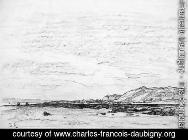 Charles-Francois Daubigny - Low tide on the coast