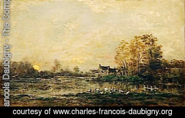 Charles-Francois Daubigny - The bog in the sunset