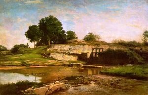 Charles-Francois Daubigny - The Flood Gate at Optevoz 1859